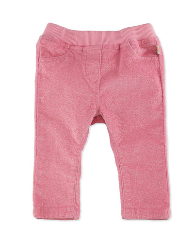 Glittered Stretch Corduroy Pants, Pink, Size 12-18 Months