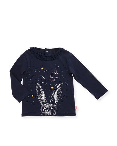 Long-Sleeve Collared Rabbit Jersey Tee, Navy, Size 12-18 Months