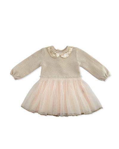 Long-Sleeve Metallic & Tulle Combo Dress, Gold/Light Pink, Size 12-18 Months