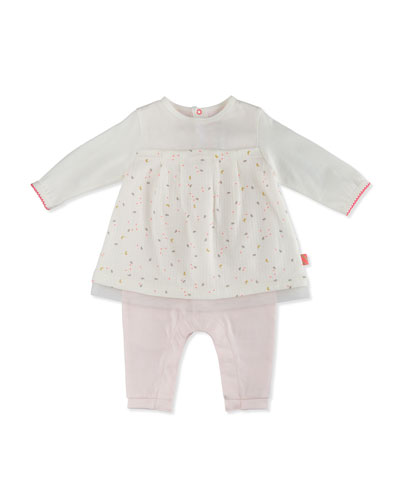 Floral Cotton Coverall Dress, White/Pink, Size 3-12 Months