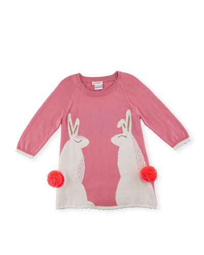 Raglan Rabbit Shift Dress, Light Pink, Size 2-3