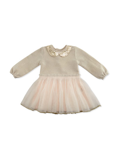 Long-Sleeve Metallic & Tulle Combo Dress, Gold/Light Pink, Size 2-3