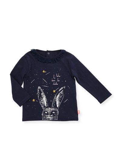 Long-Sleeve Collared Rabbit Jersey Tee, Navy, Size 2-3