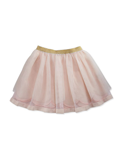 Scalloped Tulle Skirt w/ Metallic Waist, Light Pink, Size 2-3