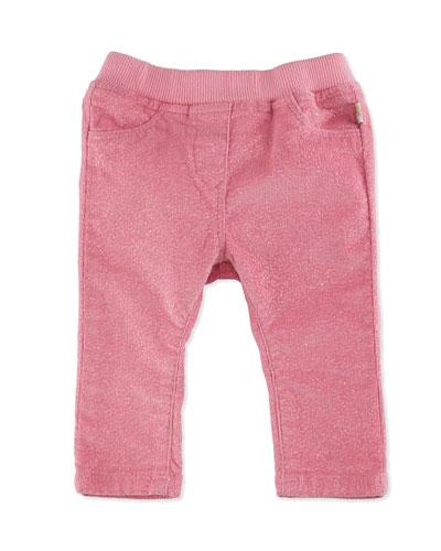 Glittered Stretch Corduroy Pants, Pink, Size 2-3