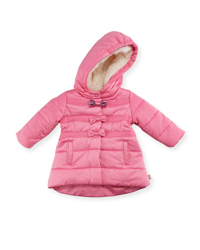 Hooded Quilted Puffer Jacket, Pink, Size 2-3