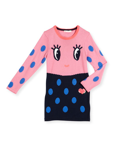 Long-Sleeve Colorblock Polka-Dot Dress, Pink/Navy, Size 4-8