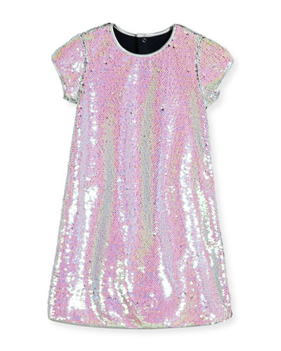 Cap-Sleeve Sequined Shift Dress, Iridescent Silver, Size 4-8