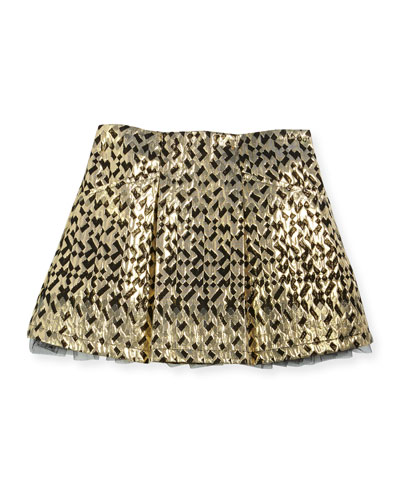 Metallic Jacquard Skirt, Gold/Black, Size 4-8