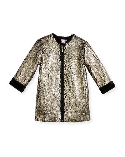 Metallic-Coated Faux Fur Coat, Rose Gold/Black, Size 4-8