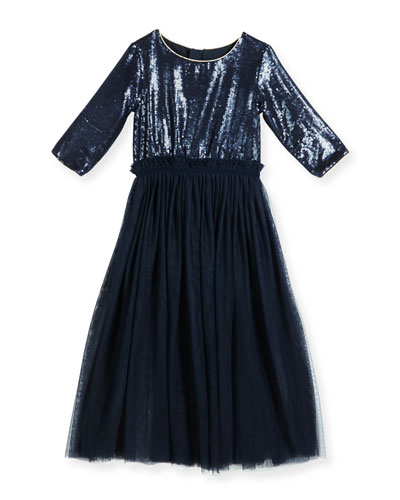 3/4-Sleeve Sequin & Tulle Combo Dress, Navy, Size 8-12