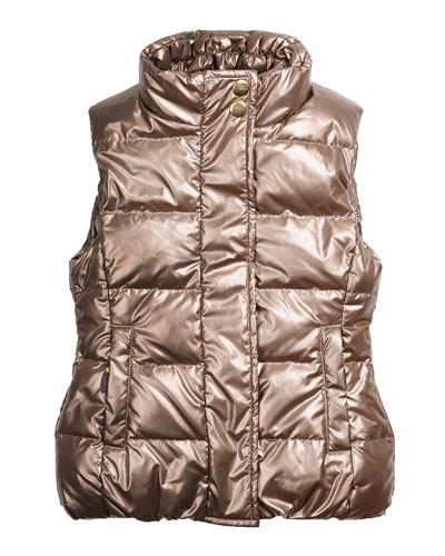 Cruz Quilted Metallic Puffer Vest, Gold, Size 2-6