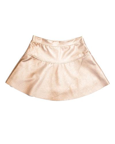 Ingrid Faux-Leather Overlap Skirt, Matte Gold, Size 2-6
