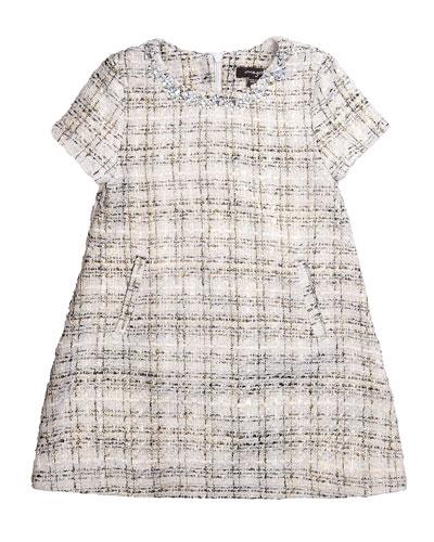 Natasha Short-Sleeve Tweed Shift Dress, Swan, Size 2-6