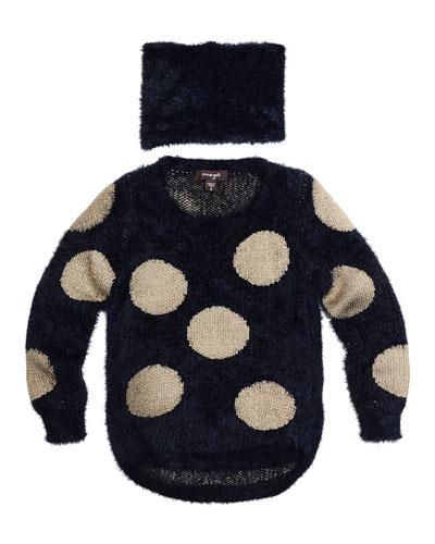 Cornellia Polka-Dot Eyelash Sweater w/ Scarf, Navy, Size 8-14