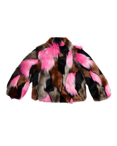 Greta Cropped Faux-Fur Jacket, Flamingo/Multicolor, Size 8-14