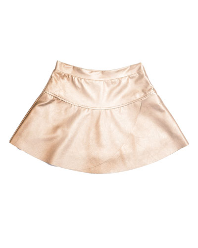 Ingrid Faux-Leather Overlap Skirt, Matte Gold, Size 8-14