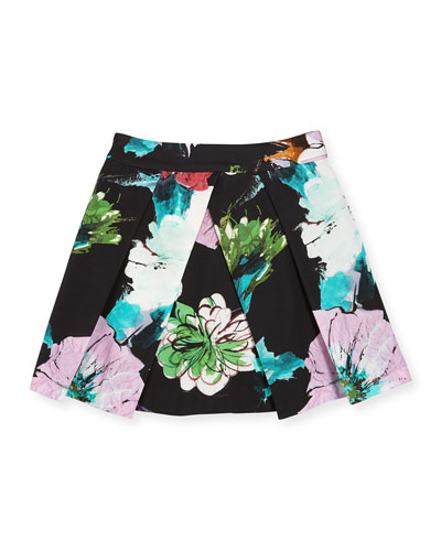 Paper Floral Pleated Skirt, Black, Size 8-14