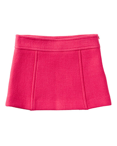 Double-Face Wool Paneled Skirt, Rose, Size 8-14