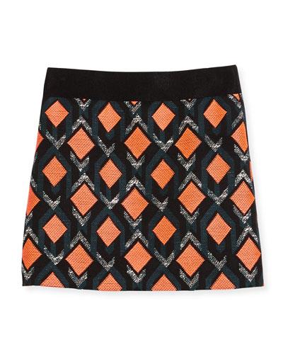 Diamond Jacquard Mini Skirt, Multicolor, Size 8-14