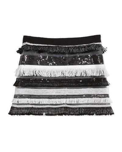 Sequin Tiered Fringe Mini Skirt, Black, Size 8-14