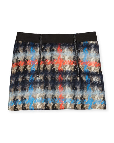 Monica Houndstooth Mini Skirt, Multicolor, Size 8-14