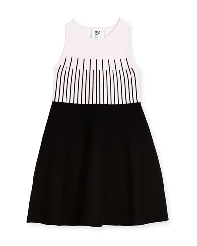 Sleeveless Colorblock Fit-and-Flare Dress, Petal/Black, Size 4-7