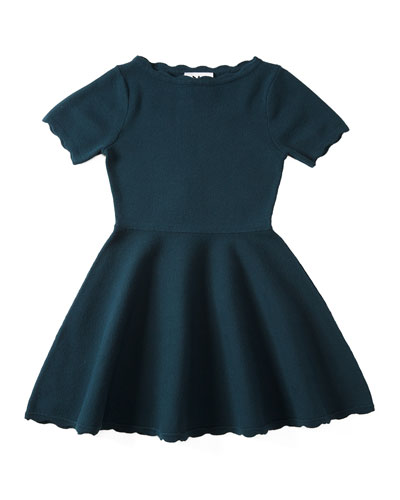 Scalloped Fit-and-Flare Knit Dress, Peacock, Size 4-7