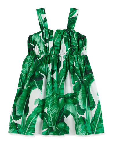 Banana Leaf Batiste Dress, White/Green, Size 2-6