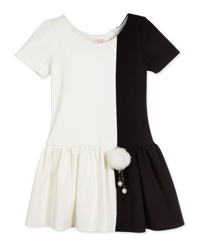 Short-Sleeve Colorblock Fit-and-Flare Dress, Ivory, Size 2-6X