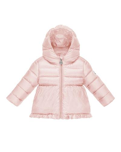 Odile Ruffle-Trim Puffer Jacket, Pastel Pink, Size 12M-3