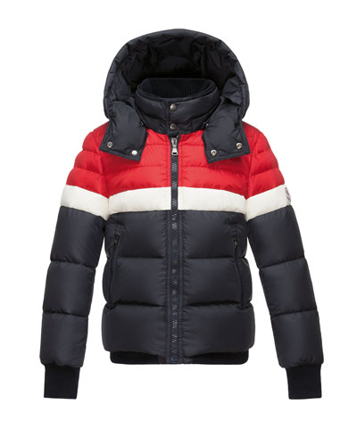 Aymond Hooded Colorblock Puffer Jacket, Navy, Size 4-6