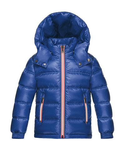 Gaston Web-Trim Quilted Down Coat, Bright Blue, Size 4-6