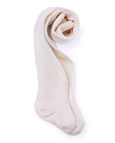 Footed Stretch Tights, Ivory, Size 3-12 Months