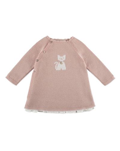 Raglan Kitty-Intarsia Sweaterdress, Pink, Size 3M-2