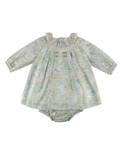 Long-Sleeve Floral Play Dress, Pink/Green, Size 3M-2