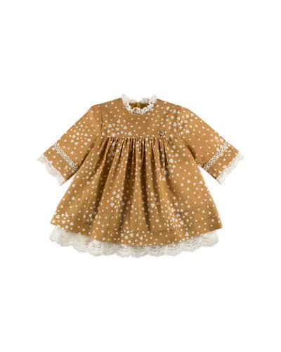 Long-Sleeve Heart-Print Shift Dress, Mustard, Size 12M-4