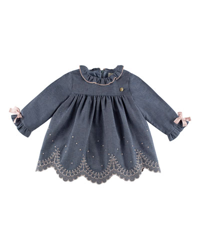 Chambray Scallop-Embroidered Shift Dress, Blue, Size 12M-4