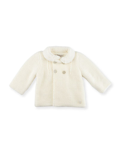Knit Double-Breasted Coat, Ivory, Size 3-12 Months