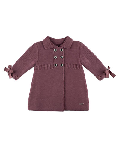 Double-Breasted Sweaterdress Coat, Plum, Size 3M-2