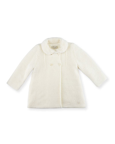 Knit Double-Breasted Coat, Ivory, Size 12M-4