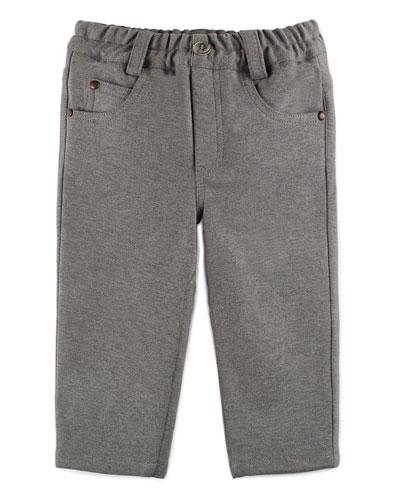 Melange Straight-Leg Scuba Pants, Gray, Size 3-6 Months
