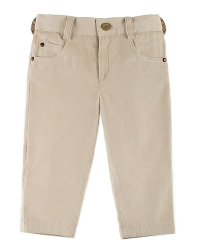 Straight-Leg Cotton Corduroy Pants, Beige, Size 12M-4