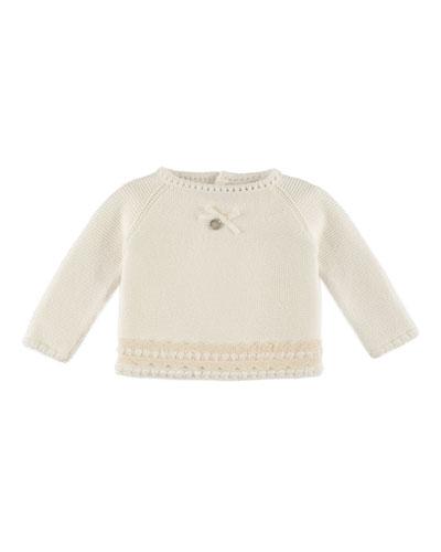 Raglan Lace-Trim Crochet Sweater, Ivory, Size 1-6 Months