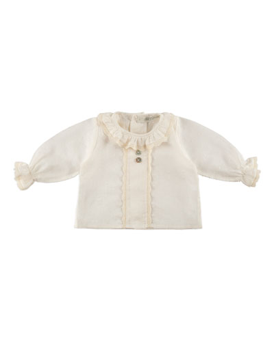 Long-Sleeve Collared Swiss Blouse, Ivory, Size 1-12 Months