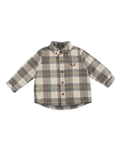 Long-Sleeve Cotton Plaid Shirt, Red/Cream/Gray, Size 12M-4