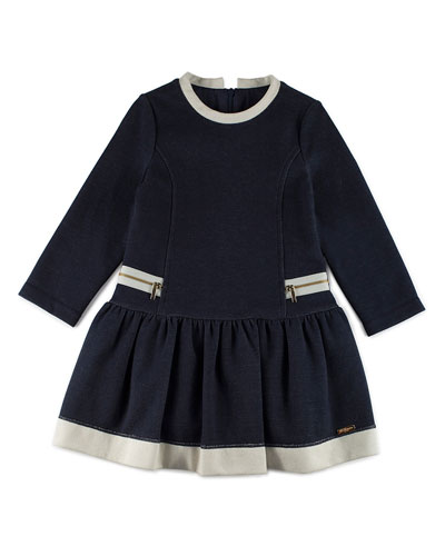 Long-Sleeve Smocked Pique Jersey Dress, Navy, Size 4-6