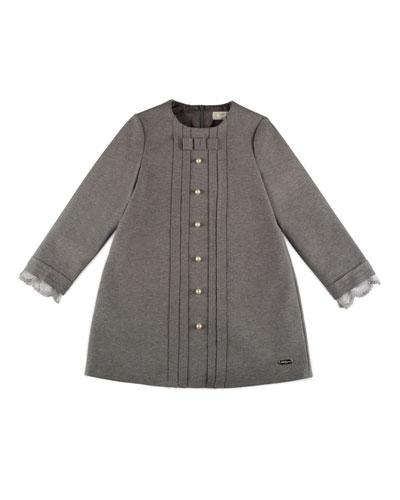 Long-Sleeve Stretch Jersey Shift Dress, Gray, Size 4-6