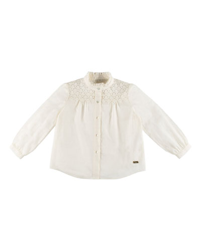 Dotted Lace-Trim Swiss Blouse, Ivory, Size 4-6