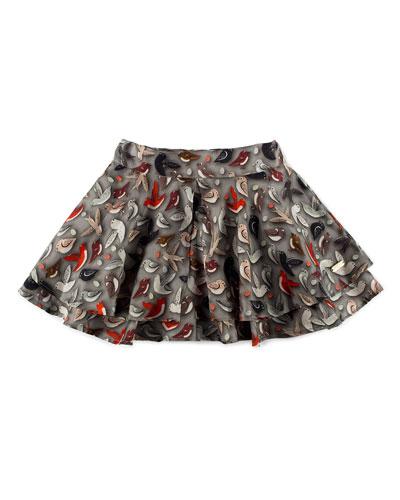 Tiered Bird-Print Circle Skirt, Gray, Size 4-6